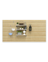 Large Maple Slot Wall Panel Board with Home Decor Displayed