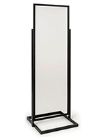 Floor standing clear plastic sneeze shield with 22x69 panel