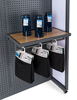 Shelf attachment with hanging bar for SMWMFD with overall dimensions of 24 inches wide and 17 inches deep