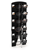 Acrylic countertop eyewear shelving with 1 inch large inserts