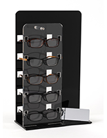 Standing optical lens display with black and clear acrylic design