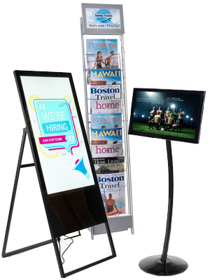 Digital signage stands with compact designs