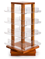 Spinning wooden literature holder with four tiers of shelves