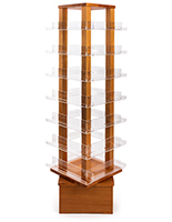 70 inch tall revolving wood literature rack with seven tiers