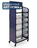 Retail bread rack graphics for BAKCRT6TBK features three printing areas