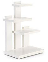 Countertop 3-tier merchandise display is made of durable laminated particle board