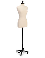 Professional female dress form with polyurethane torso construction