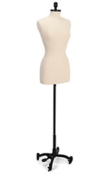 Professional female dress form with white cotton covered torso