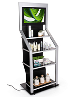 Digital merchandising retail shelving unit with steel frame and tempered glass shelves