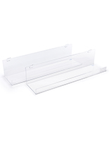 clear acrylic gridwall shelving with 1.5 inch raised ledge