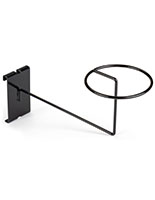 Durable black gridwall hat rack features powder coated finish