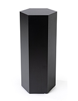 Hexagon retail pedestal with laminated black particleboard