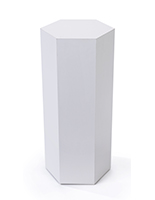 Hexagonal display pedestal with overall height of 30 inches