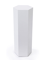 Hexagonal display pedestal with overall width of 13.75 inches