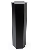 Hexagon retail pedestal with black laminated particleboard build