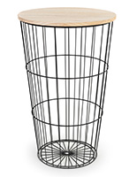 Wood top iron storage basket with black powder coated finish