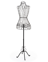 Wire dress form with floor standing design