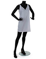 Adult female headless mannequin with clear tempered glass base