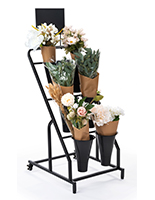 Flower bucket display stand with black powder coated finish