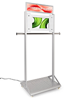 "Mobile garment rack with digital sign with 30"" W x 8"" H header frame"