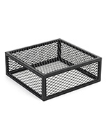 Iron mesh cube storage riser with black powder-coated finish
