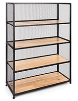 Metal mesh wood bookcase shelving with solid oak and iron build