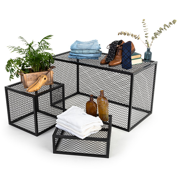 These Iron Metal Mesh Retail Risers Can be Paired Together for an Impactful Retail Display