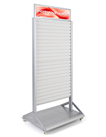 Rolling slatwall stand with sign holder and shelf base