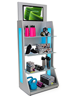 LED retail shelving with media player includes a 21 LCD inch screen