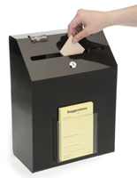 Black Suggestion Box with 1 Pocket - Clear