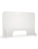 Clear countertop sneeze shield with 0.25 inch thick acrylic