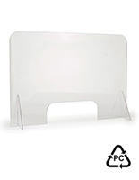 Knockdown polycarbonate sneeze guard has a collapsible design