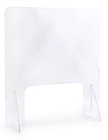 Cash register shield with 0.1875 inch thick clear acrylic