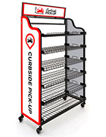 Curbside pickup wire shelf with 3 pre-printed graphic panels