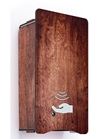 Decorative hand sanitizer dispenser with faux-wood grain cover
