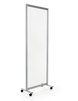 Clear mobile room divider with acrylic and aluminum build