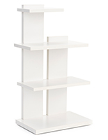Tiered retail shelving display with white particle board construction