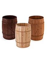 Wooden display barrels made of durable cedar