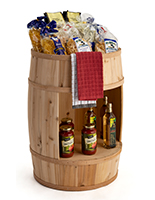 Bourbon barrel display case with 16 inch tall cutout