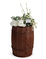 Wooden display barrel with deep brown stain