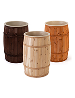 Food grade cedar barrels with removable plastic liner