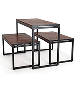 3-Piece rustic nesting table with slatted wood surface