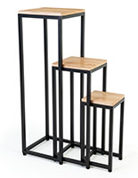 Wooden display tables with black powder coated metal