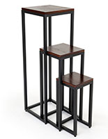 Rustic wood nesting tables with black powder coated metal frame