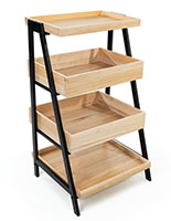 Wooden tiered display shelving with black powder coated metal