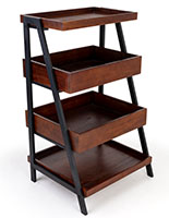 Rustic wooden dump merchandising shelves with four levels