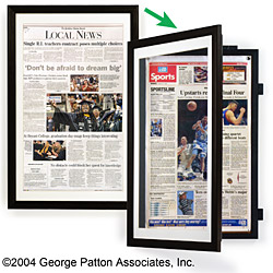 black swinging newspaper holder