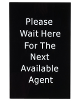 """Agent"" Stanchion Sign Measures 7""w x 11""h"