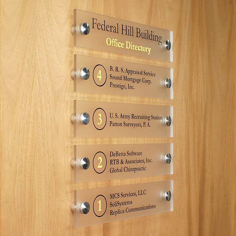 Directory listing created with acrylic plates and standoffs