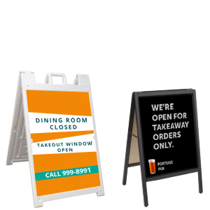 Sidewalk signs for businesses during social distancing